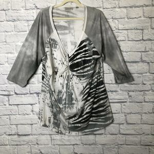 Avenue 3/4 Zip Animal Print Tunic Plus 18/20